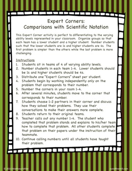 8.EE.3 Comparisons with Scientific Notation: Expert Corners