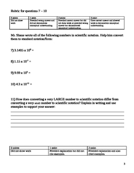 8.EE.3 Scientific Notation Assessment