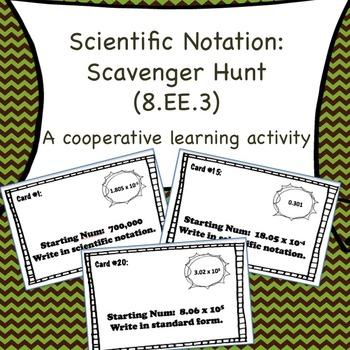 8.EE.3 Scientific Notation Scavenger Hunt