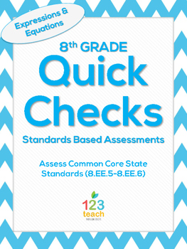 8.EE.5-8.EE.6 Expressions and Equations Common Core Quick Check Assessments