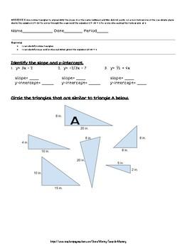 8.EE.6 Slope & y=mx+b Assessment