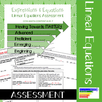 8.EE.7 Linear Equations Assessment