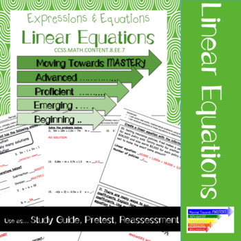 8.EE.7 Linear Equations Pre-test/ Study Guide/ Reassessment