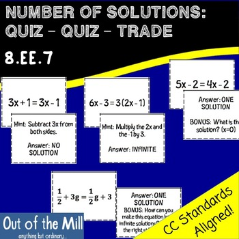 8.EE.7 Number of Solutions: Quiz-Quiz-Trade