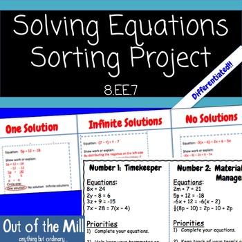 8.EE.7 Number of Solutions Cooperative Sort