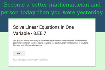 8.EE.7 - Solving Linear Equations in One Variable Quiz (Google Forms + Paper)