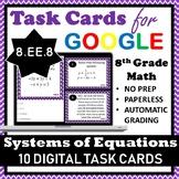8.EE.8 Digital Task Cards, Systems of Equations Google Task Cards