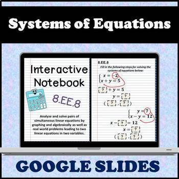 8.EE.8 Interactive Notebook, Solving Systems of Equations