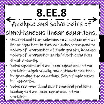 8.EE.8 Task Cards, Systems of Equations {Graphing, Algebrically & Word Problems}
