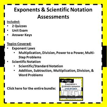 Exponents & Scientific Notation Assessments - 8.EE.1, 8.EE.3, 8.EE.4