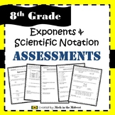 Exponents & Scientific Notation Assessments - Exam and Quizzes {EDITABLE}