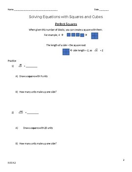 8.EE.A.2 Solve Equations with Square Root Worksheet (Scaffolded)
