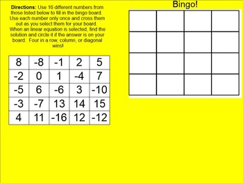 8.EE.C.7.B Multistep Linear Equations Bingo for the Smartboard #1