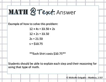 8.EE.C.7 - Math 2 Text Writing Prompt #1