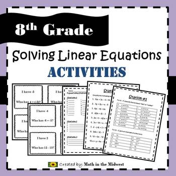 Solving Linear Equations Activities - 8.EE.7