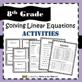 Solving Linear Equations Activities - 8.EE.7 {EDITABLE}