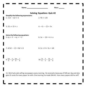 Solving Linear Equations Assessments - 8.EE.7