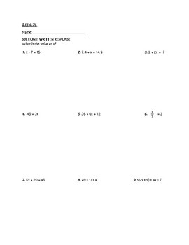 8.EE.C.7 Test (Solving Equations)