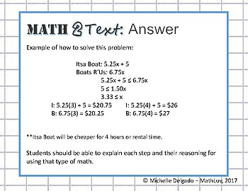 8.EE.C.8 - Math 2 Text Writing Prompt #8