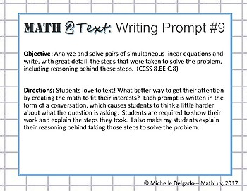 8.EE.C.8 - Math 2 Text Writing Prompt #9