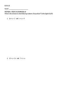 8.EE.C.8 Test (Systems of Equations Test)