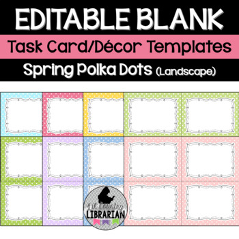 8 Editable Task Card Templates Spring Polka Dots (Landscape) PowerPoint