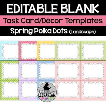 8 Editable Task Card Templates Spring Polka Dots (Landscap