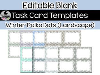 8 Editable Task Card Templates Winter Polka Dots (Landscape) PowerPoint