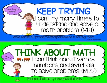 Eight Mathematical Practice Standards - Common Core - Adapted for Grades 1-2
