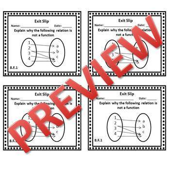 8th Grade Math Exit Slips/Exit Tickets Functions