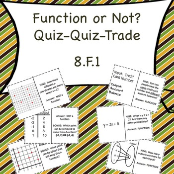 8.F.1 Function or Not? Quiz-Quiz-Trade