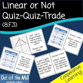 8.F.3 Linear or Non-linear Quiz Quiz Trade