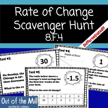 8.F.4 Rate of Change Scavenger Hunt