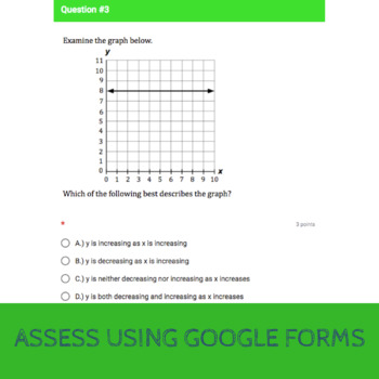 8.F.5 - Analyzing Graphs Quiz (Google Forms + Paper)