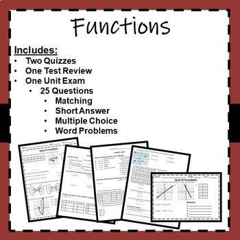 Functions - Review and Exam: 8.F.1, 8.F.2, 8.F.3, 8.F.4, 8.F.5