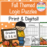 8 Fall Logic Puzzles in Print & Google Paperless! Critical Thinking!