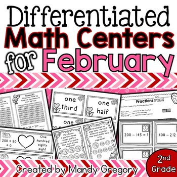 8 February Math Centers with Differentiation (2nd Grade)