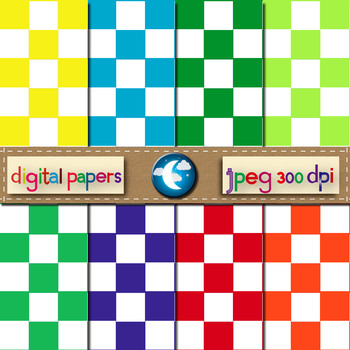8 Free Checker Pattern Digital Paper in 8 Colors