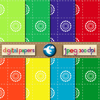 8 Free Circle Dots Pattern Digital Paper in 8 Colors