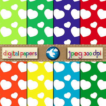 8 Free Heart Digital Paper Background in 8 Colors