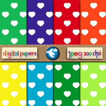 8 Free Heart Pattern Digital Paper in 8 Colors