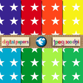 8 Free Star Pattern Digital Paper in 8 Colors