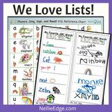"8 Free ""We Love Lists!"" Writing Templates"