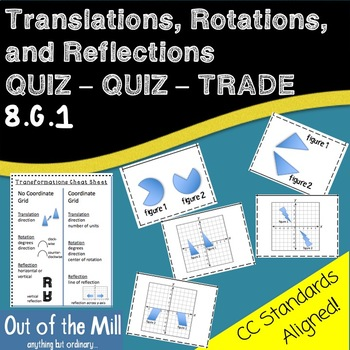 8.G.1 Rotations Reflections and Translations Quiz Quiz Trade
