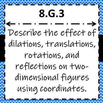 8.G.3 Task Cards, Effects of Transformations with Coordinates