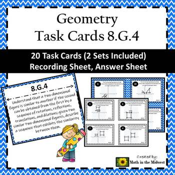 8.G.4 Task Cards, Describing Sequences of Similar Figures