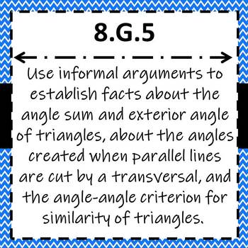8.G.5 Task Cards, Angles of Triangles & Parallel Lines Cut by a Transversal
