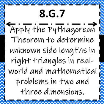 8.G.7 Task Cards, Pythagorean Theorem Word Problems & Unknown Sides of Triangles
