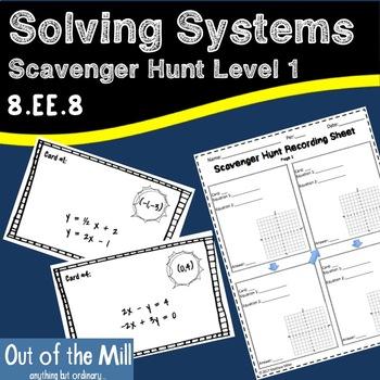8.G.8 Solving Systems Scavenger Hunt Level 1