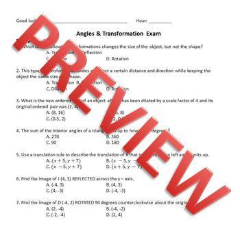 Transformation and Angles Exam - 8.G.1, 8.G.2, 8.G.3, 8.G.4, 8.G.5